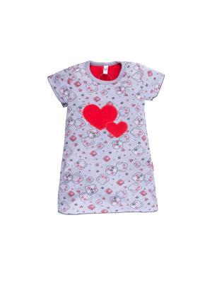Ночная сорочка ДД Аппликация Bossa Nova. Цвет: серый,розовый