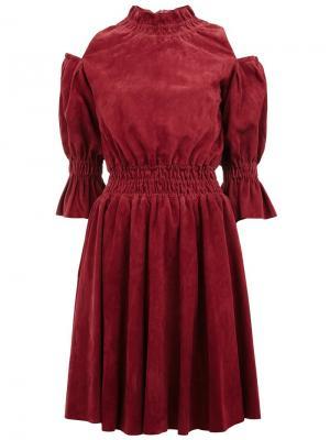 Платье с открытыми плечами Drome. Цвет: красный
