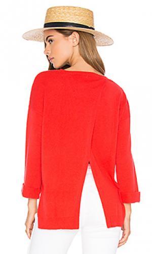 Свитер с асимметричным подолом и разрезом на спине Autumn Cashmere. Цвет: красный