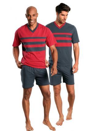 Пижама с шортами, 2 штуки LE JOGGER. Цвет: красный+серый