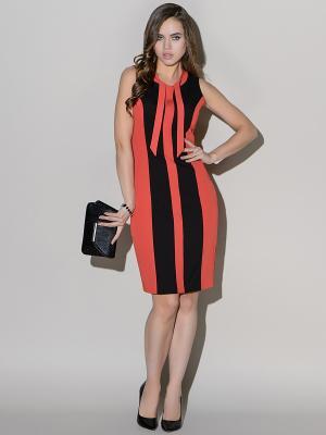 Платье Stets. Цвет: черный, коралловый