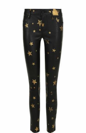 Кожаные брюки-скинни с принтом в виде звезд RTA. Цвет: черный