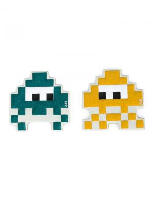 Стикеры Space Invaders Anya Hindmarch. Цвет: жёлтый и оранжевый
