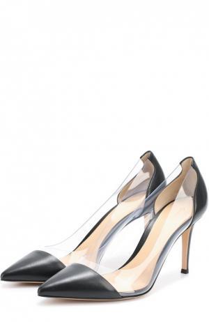 Кожаные туфли Plexi на шпильке Gianvito Rossi. Цвет: черный