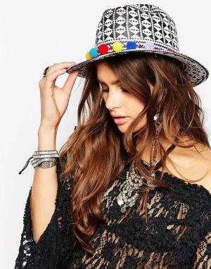 Catarzi Черно-белая соломенная шляпа с помпонами. Цвет: мульти