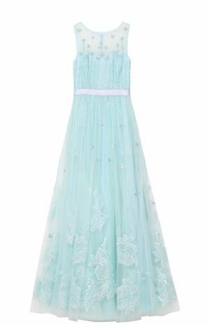 Приталенное платье-макси с вышивкой Basix Black Label. Цвет: голубой
