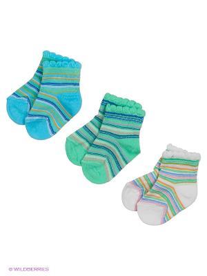 Носки, 3 пары Гамма. Цвет: голубой, белый, салатовый