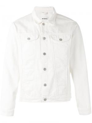Джинсовая куртка с принтом поцелуя Misbhv. Цвет: белый