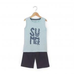 Пляжный комплект из футболки и шортов La Redoute Collections. Цвет: голубой + темно-синий