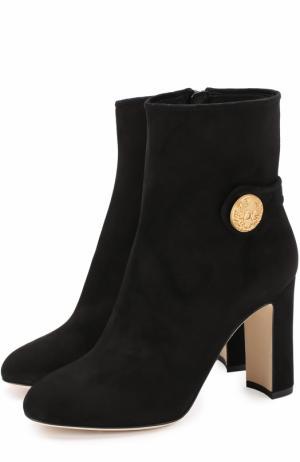 Замшевые ботильоны Vally на устойчивом каблуке Dolce & Gabbana. Цвет: черный