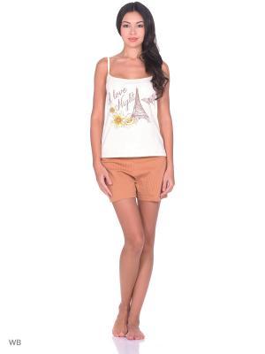 Пижама РОССИЙСКИЙ ТРИКОТАЖ. Цвет: коричневый, бежевый