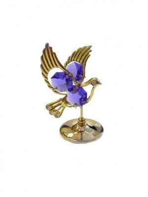 Фигурка декоративная Голубь CRYSTOCRAFT. Цвет: золотистый, фиолетовый