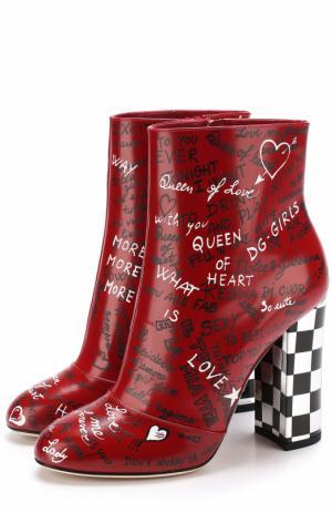 Кожаные ботильоны с принтом на устойчивом каблуке Dolce & Gabbana. Цвет: красный