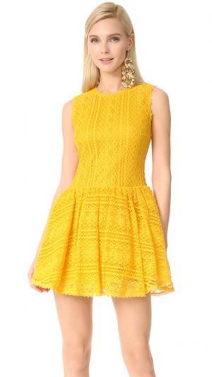 Кружевное мини-платье RED Valentino. Цвет: желтый