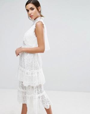 Three Floor Многослойное платье миди с кружевом. Цвет: белый