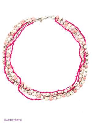 Ожерелье ГАНГ. Цвет: фуксия, розовый, серебристый