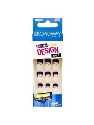 Broadway Набор накладных ногтей без кле, средней длины Фшен дизайн 24шт Kiss. Цвет: фиолетовый, прозрачный