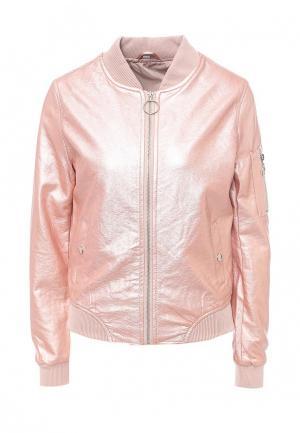 Куртка кожаная B.Style. Цвет: розовый