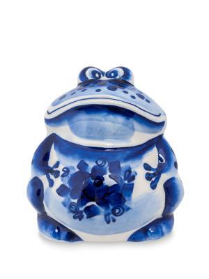 Фигурка Лягушка-Квакша (Гжельский фарфор) Art East. Цвет: синий