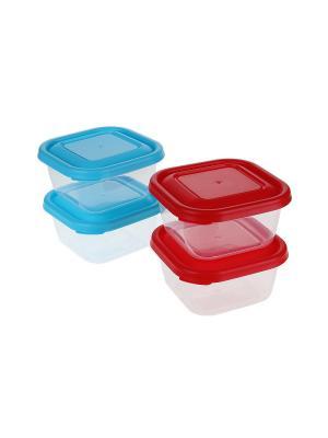 Контейнер для еды - 4 шт., 0,3 л. Migura. Цвет: голубой, прозрачный, красный