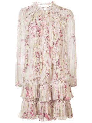 Платье с цветочным принтом Zimmermann. Цвет: телесный