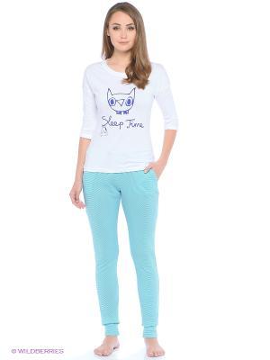 Пижама Lemila lingerie. Цвет: белый, зеленый