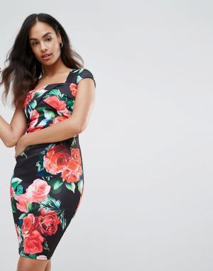 Jessica Wright Облегающее платье с цветочным принтом. Цвет: мульти