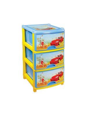 Комод детский (для мальчиков) 3-х секционный Альтернатива. Цвет: голубой, красный, желтый