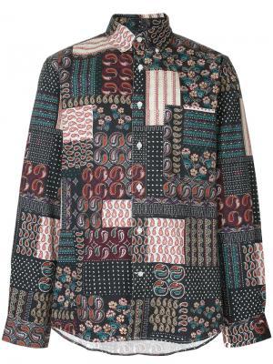 Приталенная рубашка лоскутного кроя Public School. Цвет: многоцветный