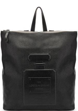 Сумка-рюкзак из натуральной кожи с тиснением Io Pelle. Цвет: черный