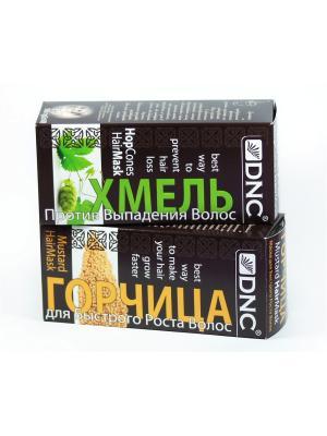 Набор  для ухода за волосами: Горчица (100г) и Хмель DNC. Цвет: желтый, серо-зеленый