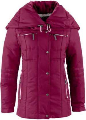 Стёганая куртка с большим воротником (виноградный) bonprix. Цвет: виноградный