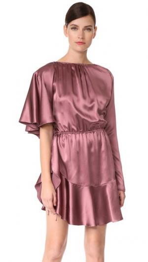 Коктейльное платье с асимметричной оборкой Juan Carlos Obando. Цвет: розовое дерево