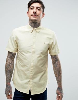 Farah Желтая оксфордская рубашка с короткими рукавами Brewer. Цвет: желтый