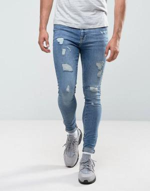 Brooklyn Supply Co. Обтягивающие джинсы с рваной отделкой Co. Цвет: синий