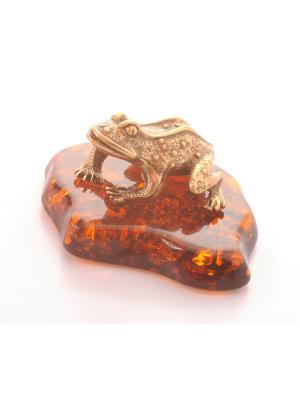 Фигура Жаба, латунь Aztek. Цвет: желтый, коричневый, светло-оранжевый