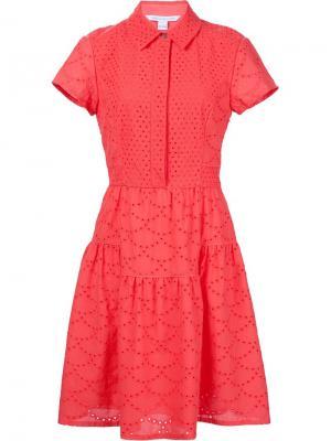 Платье-рубашка с вышивкой Diane Von Furstenberg. Цвет: красный