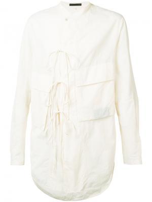 Рубашка карго с накладными карманами Ziggy Chen. Цвет: белый