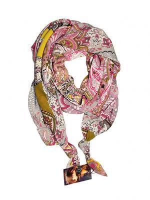 Двойной шелковистый шарф-долька с узелками; серия Апрель Оланж Ассорти. Цвет: оливковый, желтый, розовый