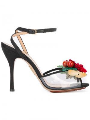 Босоножки с цветами Charlotte Olympia. Цвет: чёрный