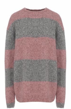 Шерстяной пуловер свободного кроя в полоску Acne Studios. Цвет: серый