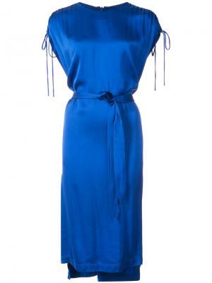 Платье  с присборенными рукавами Lover. Цвет: синий