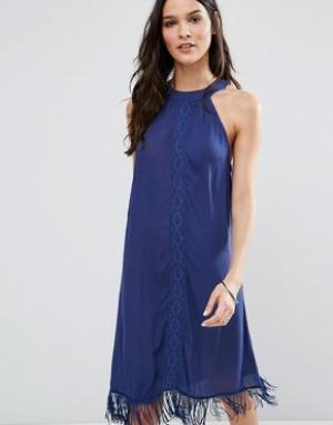 Anmol Пляжное платье мини с высокой горловиной. Цвет: темно-синий