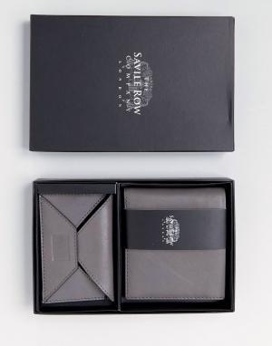 Saville Row Кожаные бумажник и кредитница с замшевой внутренней частью. Цвет: серый