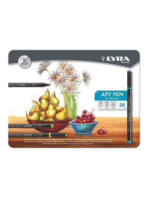 LYRA Hi-Quality Art Pen,  Набор фломастеров металл коробка 20шт. Цвет: белый, коричневый, черный