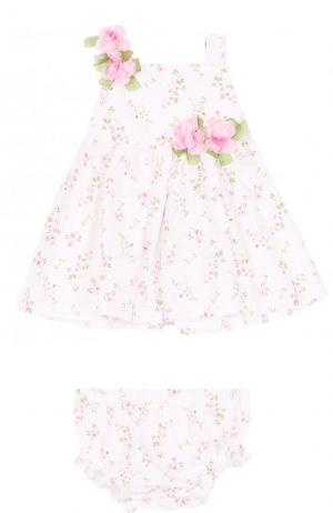 Комплект из платья с цветочной аппликацией и трусов Aletta. Цвет: белый