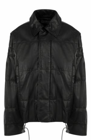 Кожаная куртка свободного кроя с отложным воротником Haider Ackermann. Цвет: черный