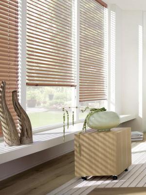 Жалюзи пластиковые горизонтальные, сосна, размер: 100х160 Эскар. Цвет: светло-коричневый