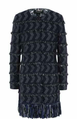 Пальто прямого кроя с декоративной отделкой St. John. Цвет: темно-синий