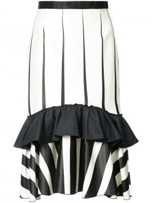 Полосатая юбка оборками Tome. Цвет: чёрный